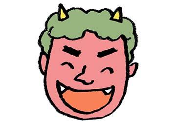 節分・鬼の顔・笑う・笑顔・フリーイラスト・無料素材