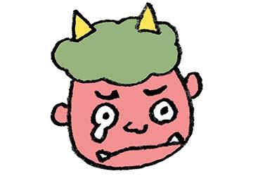 節分・泣いた鬼の顔・涙・フリーイラスト・無料素材