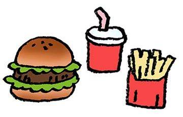 ハンバーガー・フライドポテト・飲みもの・フリーイラスト・無料素材