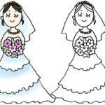 フリー素材・花嫁・ウェディングドレス・結婚式・かわいい手書きイラスト