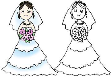 ウェディングドレスを着た花嫁さんのかわいいイラスト えんぴつと画用紙