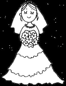 花嫁・ウェディングドレス・結婚式・かわいい手書きイラスト・フリー素材