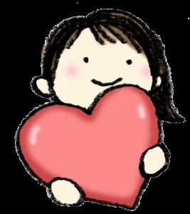 バレンタイン・ハートを持った女の子・かわいい手書きイラスト・フリー素材・無料・foryou・愛