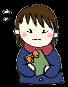 バレンタイン・チョコを持った女の子・緊張・かわいい手書きイラスト・フリー素材・無料・愛