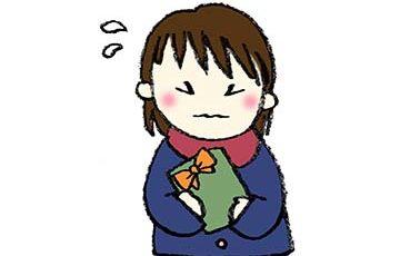 バレンタイン・チョコを持った女の子・緊張