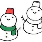 雪だるま・スノーマン・手書きイラスト・フリー・無料素材・モノクロ