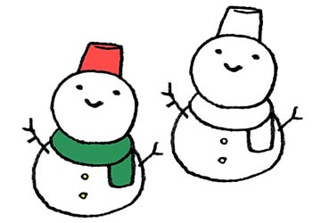 かわいい雪だるまの手書きイラスト