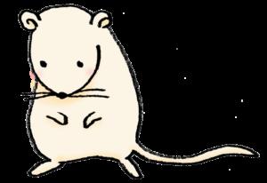 2020年干支・ネズミ・子・ねずみ・フリー素材・無料・全身・かわいい・手書きイラスト