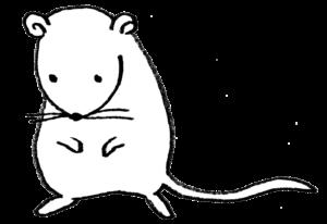 2020年干支・ネズミ・子・ねずみ・フリー素材・無料・全身・かわいい・手書きイラスト・モノクロ