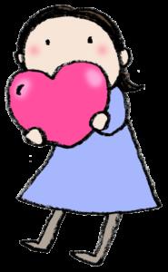 ・フリー素材・無料・バレンタイン・ハートを持った女の子・かわいい手書きイラスト・foryou・愛