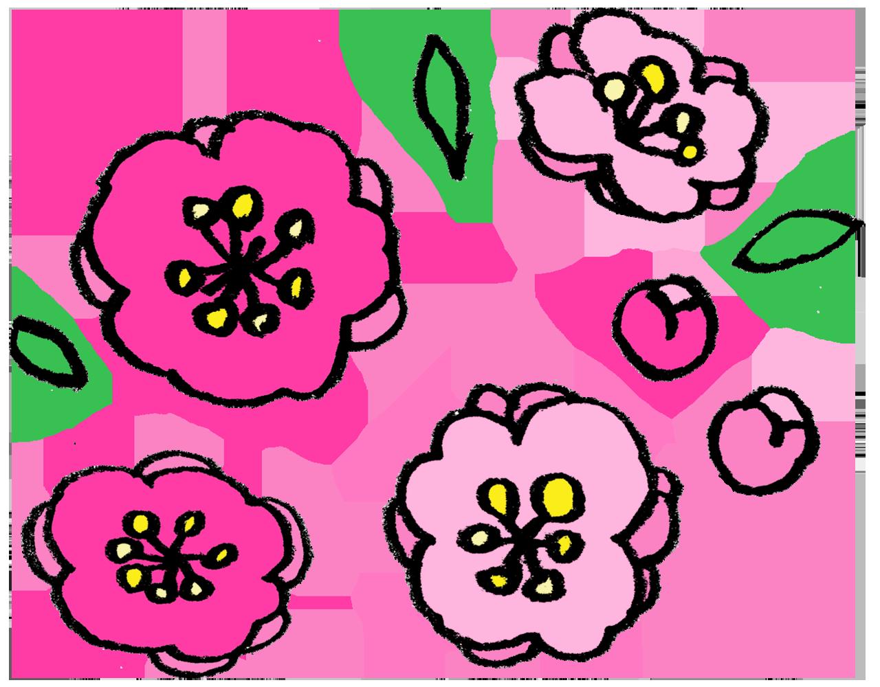 桃の花の手書きイラスト えんぴつと画用紙