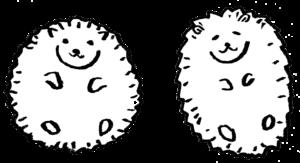 ハリネズミ・かわいい手書き・干支・2020年・ネズミ・フリーイラスト・無料素材・丸まる・寝転ぶ・モノクロ