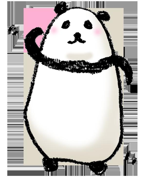パンダの描きイラスト ゆるい かわいい 照れる えんぴつと画用紙
