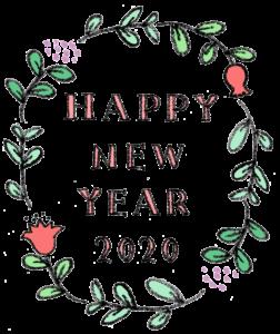 無料・フリー素材・手書き文字・かわいい・おしゃれ・年賀状2020・花・枠・フレーム