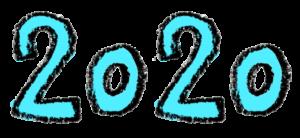 2020年号・手書き文字イラスト・水色・青・ブルー