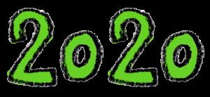 フリー素材・無料・2020年号・手書き文字イラスト・グリーン