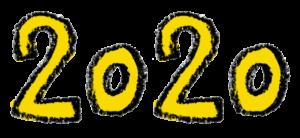 フリー素材・無料・2020年号・手書き文字イラスト・黄色