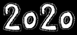 2020年号・手書き文字イラスト・モノクロ