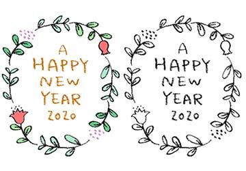 無料・フリー素材・happy new year2020手書き文字・かわいい・おしゃれ・年賀状・花・ボタニカル