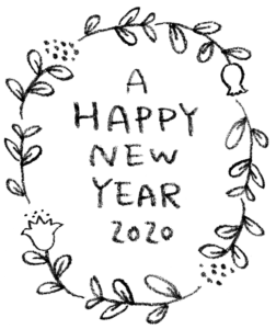 無料・フリー素材・happy new year2020手書き文字・かわいい・おしゃれ・年賀状・花・ボタニカル・モノクロ