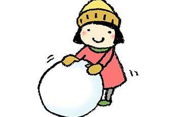 雪遊び・子ども・かわいい手書きイラスト・雪だるま・冬・寒い