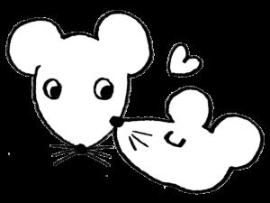 2020年干支・ネズミ・子・ねずみ・チュー・仲良し・カップル・フリー素材・無料・手書きイラスト・モノクロ