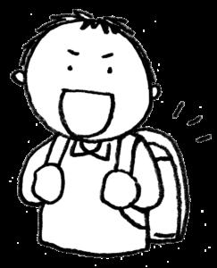 フリーイラスト・ランドセル・入学準備・新一年生・小学生・男の子・モノクロ・無料素材