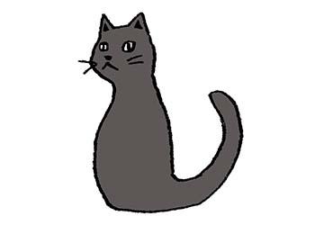 フリーイラスト・猫・黒猫・くろねこ・クロネコ・横向き・クール・シャープ・無料素材