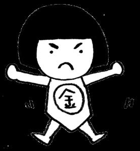 金太郎・フリーイラスト・かわいい手書き・無料素材・端午の節句・こどもの日・元気な子供・モノクロ