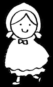 赤ずきん・フリーイラスト・かわいい手書き・女の子・童話・モノクロ・お遊戯会