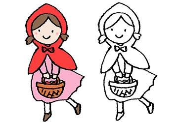 赤ずきん・フリーイラスト・かわいい手書き・女の子・童話・お遊戯会