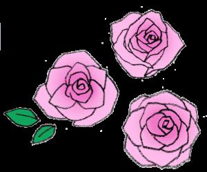 バラの花・ピンクの薔薇・手書き・かわいい・フリーイラスト