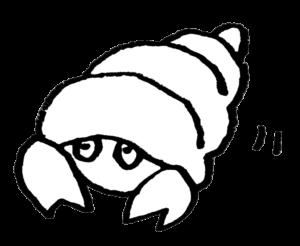 ヤドカリ・やどかり・夏・海の生き物・フリーイラスト・手書き・かわいい・モノクロ