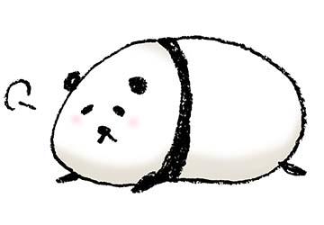 パンダの手描きイラストゆるいかわいい寝る えんぴつと画用紙