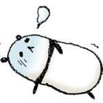 パンダ・手書きイラスト・フリー・無料・ゆるい・かわいい・倒れる・寝る・しんどい・病気