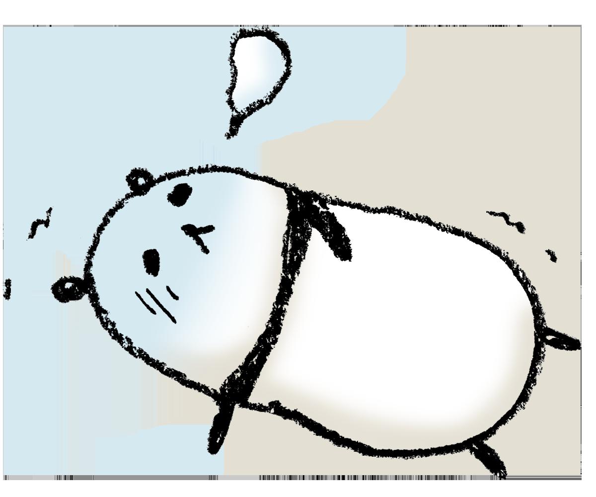 パンダの手描きイラストゆるいかわいい倒れる えんぴつと画用紙