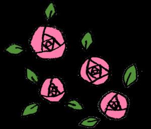 バラの花・ピンク・薔薇・手書き・かわいい・フリーイラスト