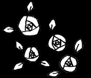 バラの花・白黒・モノクロ・薔薇・手書き・かわいい・フリーイラスト