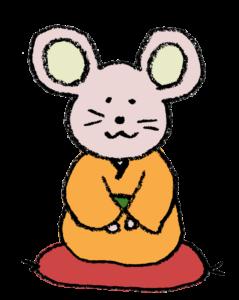着物姿のネズミ(子・ねずみ)のイラスト(夫婦)・和風・手書き・可愛い・年賀状・干支・2020年・フリー