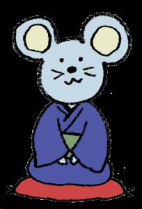着物姿のネズミ(子・ねずみ)のイラスト(夫婦)・和風・手書き・可愛い・年賀状・干支・2020年