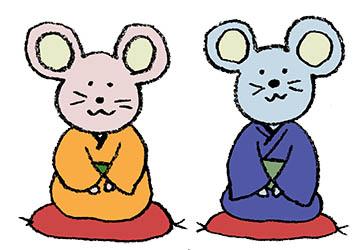 フリーイラスト・ねずみ・子・着物・和服・和風・ネズミ・和モダン・かわいい
