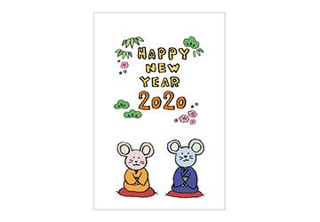 フリーイラスト・ねずみ・子・着物・和服・和風・ネズミ・和モダン・かわいい・年賀状