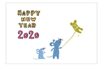 凧揚げ・ネズミ・子・ねずみ・イラスト・和風・手書き・可愛い・年賀状・干支・2020年・フリー