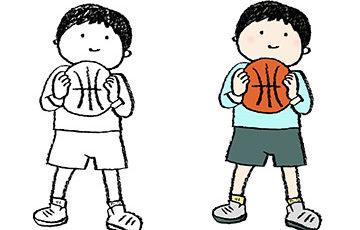 手書きイラスト・バスケットボールを持った子ども・男の子・スポーツ・かわいい無料素材・ドリブル
