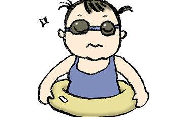 フリーイラスト・うきわ・水着・子ども・女の子・ゴーグル・水中眼鏡・かわいい手描き無料素材