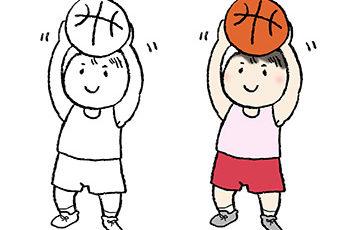手書きイラスト・バスケットボールを持った子ども・男の子・スポーツ・かわいい無料素材