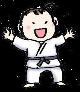 無料イラスト・フリー手描きイラスト・柔道・柔道着・かわいい女の子・子ども・ヤワラちゃん
