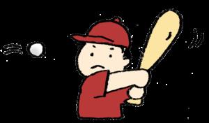 フリーイラスト・無料素材・手描き・少年野球・バットを振る・子ども・男の子・ボール