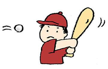 フリーイラスト・無料素材・手描き・少年野球・バットを振る・子ども・男の子・スポーツ