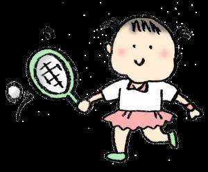 テニスをする女の子のイラスト・ラケット・無料素材・フリー
